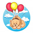 Teddy bear flies on balloons — Stock Vector #12518113
