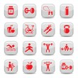 Bodybuilding and fitness icons set - Stock Vector