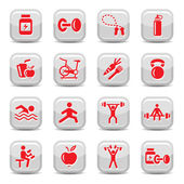 Bodybuilding and fitness icons set — Stockvektor
