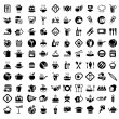 图库矢量图片: Food and kitchen icons set