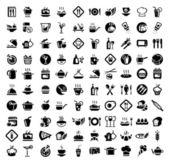 Potraviny a kuchyňské sady ikon — Stock vektor