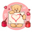 Royalty-Free Stock Vector Image: Valentine teddy with sign