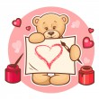 Valentine teddy with sign — Stock Vector