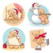 Christmas teddy bears — Stock Vector
