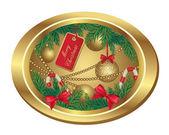 Vánoční rám s jedle a koule — Stock vektor