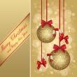 Gold christmas greeting card — Imagen vectorial