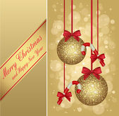 Gold christmas greeting card — Stock Vector