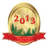 Kerstmis gouden frame — Stockvector