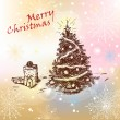 Christmas tree with gifts — Vector de stock