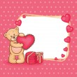Stock Vector: Valentine teddy bear with sign