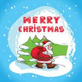 Christmas card santa claus — Vecteur