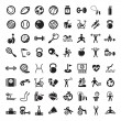图库矢量图片: Sports and fitnes icons set