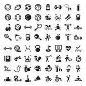Conjunto de iconos de deportes y gimnasio — Vector de stock