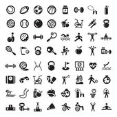 Sports and fitnes icons set — Vecteur