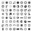 Big black clock icons set - Stock Vector