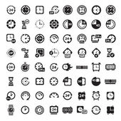 Big black clock icons set — Stockvector