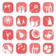 Color christmas icon set - Stock Vector