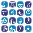 Color fitness icons set — Stock Vector