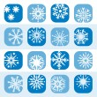 Color snowflake icon set — Stock Vector