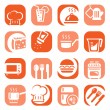 Color kitchen icons set — Stock Vector