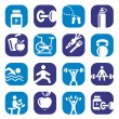 Color bodybuilding icons set — Stock Vector