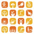 Color gardening icon set - Stock Photo