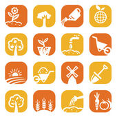 Color gardening icon set — Stock Photo