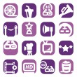 Color movie icon set - Stock Vector