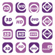 Color movie icons — Stock Vector