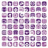 Big color cinema icons set — Stock Vector