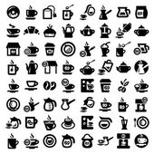 Big coffee and tea icons set — Stock Vector