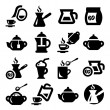 Coffee and tea icons set — Stock Vector
