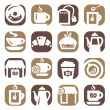 Color coffee and tea icons — Stock Vector