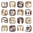 Color coffee icons set — Stock Vector