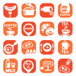 Stock Vector: Color food icon set