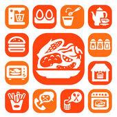 Kleur voedsel en keuken pictogrammen — Stockvector