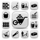 Bricklayer icons — Stock Vector