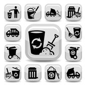 Garbage icons — Stock Vector