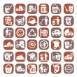 Big color garbage icons — Stock Vector