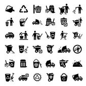 Big garbage icons set — Vecteur
