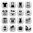 Fashion clothes  icons — Grafika wektorowa