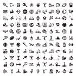 gran aptitud y conjunto de iconos de dieta — Vector de stock  #29347453