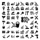 Big construction and repair icons set — Stockvektor