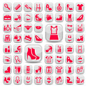 Big red fashion icons set — Stock Vector