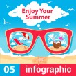 Stock Vector: Infographic summer time