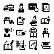 Education icons set — Stock Vector #30314329