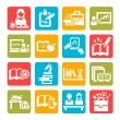 Color education icons — Stock Vector