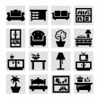 Furniture icons — Stockvectorbeeld