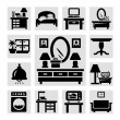 Furniture icons set — Imagen vectorial