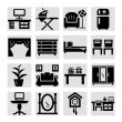 Furniture icons vector set — Stockvectorbeeld